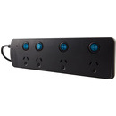 L54031 - 4 Outlet Surge Protected Individually Switched Powerboard - Black